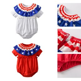 Wholesale american flag children - INS Hot Summer Children Clothing Infant Short Sleeved Harem Jumpsuits Newborn Baby Rompers Flags American Independence Day Holiday Dresses