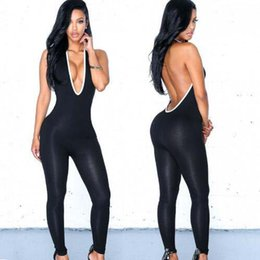 Donne nere catsuit online-Sexy Black Spandex Lycra Deep V-Neck Jumpsuit Women's Halter Catsuit Club Wear Backless Halloween Party Costume