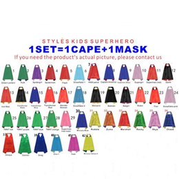 Wholesale Wholesale Superhero Capes For Kids - 2018 new Double side L70*70cm kids Superhero Capes and masks for kids capes with mask 42 design