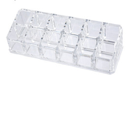 Wholesale clear cosmetic makeup organizer box - 12 Lipstick Holder Display Stand Clear Acrylic Table Cosmetic Organizer Storage Box For Women Jewelry Makeup Container