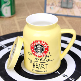 Wholesale Starbucks Ceramic Coffee Cups - New single-layer simple ceramic letters Starbucks cup with lid large capacity coffee cup couple cups 3 colors