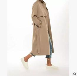 Wholesale Classic Trench Coat Women - Spring women trench coat high street belts Long Ladies Windbreaker Jacket Classic khaki casual outwear coat trench Coats
