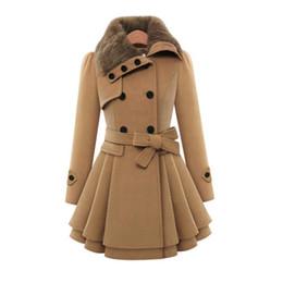 Abrigo de lana de las mujeres elegantes CALIENTES Otoño invierno con cordones Falda delgada Chaqueta de un solo pecho Bata Ropa de abrigo Manteau Femme caliente desde fabricantes