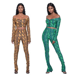 Wholesale Ladies Suit Pants Shirt - Women's Two Piece Sets Sexy Printing Ladies Suits Deep V Zipper Top Shirt +Pants Casual Fashion Strapless Tight Bodycon Suits