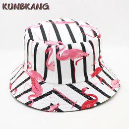 2018 Mujeres Flamingo Bucket Hat Summer Impreso Bob Cap Hip Hop Gorras Damas al aire libre Panamá Pesca Sun Beach Flat Hat Bucket Cap desde fabricantes