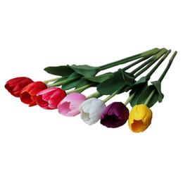 Wholesale 12 шт упак см искусственный Тюльпан цветы один длинный стебель букет красивые моделирования цветок партии свадебные украшения L1