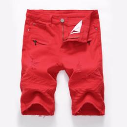 Shorts denim branco on-line-Verão Denim Mens Shorts Masculinos Com Zíper Decoração Curto Motociclista Jeans Com Calça Jeans Vermelho Preto branco calções angustiados de alta qualidade