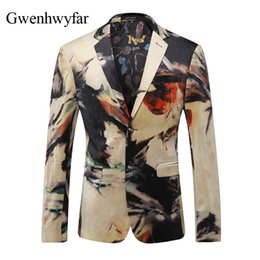 Wholesale mens suit jacket pattern - Unique Men Casual Jacket Slim Fit Fashion Ink Blooming Pattern Mens Suit Blazer Small Size Wedding Party Stage Costumes Jacket