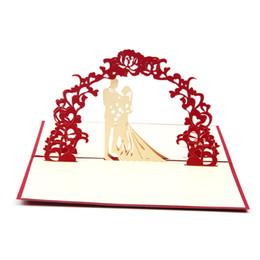 animação de desenho animado de casamento Desconto 10PS Cartões De Casamento 3D Cartão de Bênção Convite de Casamento Criativo com Tampa Vermelha Cartões De Casamento Convite 2018