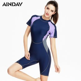 Wholesale Panties Swimsuit - Short Sleeve Swimwear Fifth Panties Swimsuit Women One Piece Sport Bathing Suit Rash Guard Surf Athlete Swimming Suit for Women