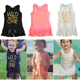 Wholesale gypsies dresses - Girls Print Vest Skirt with Tassels Letters Arrow Wild And One GYPSY SOUL Girls Print Dress Sleeveless Breathable Summer Cotton 6-24M