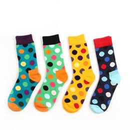 Wholesale Yellow Polka Dot Dress - Wholesale- New Cotton Hit Color Polka Dot Casual Socks for Men Happy's Socks Summer Style Candy Colored Dress Soks 8 colors