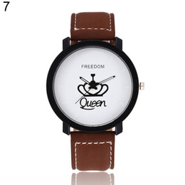 king quartz chronograph watches Coupons - Newest Couple Queen King Crown Fuax Leather Quartz Analog Wrist Watch Chronograph 2017 Wom