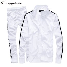 2019 blanco ropa deportiva Bumpybeast Mens Track trajes 2018 primavera Sportswear Men Chándales de color sólido New Brand White Sportwear Set Chándal de cremallera 5XL rebajas blanco ropa deportiva