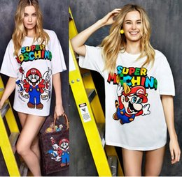 Wholesale Shirt Mario - MoschinoS 2018 new arrival Luxury Europe Italy High Quality Embroidered flowers women men otton super mario t-shirt.