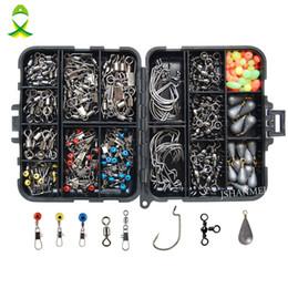 Canada plombs JSM 160pcs / box Kit d'accessoires comprenant des crochets de pesée Poids de platine émerillons Snaps avec boîte de pêche Offre