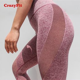 hot pink yoga pants Promo Codes - CrazyFit 2018 Hot Leggings Sport Women Fitness Capri Leggins Sexy Seamless Gym Tights Push Up Mesh Legging High Waist Yoga Pants