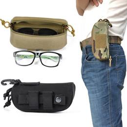 2019 estojo de óculos com zíper Tactical Molle Zipper Óculos Caso 1000D Nylon Anti-Choque Dobrável Clamshell Eyewear Levar bolsa de óculos de sol bolsa com POM Clipe