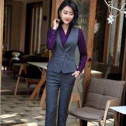 5fdaf7829f85 Fashion Striped 2018 Spring Summer Uniform Designs Pantsuits With Tops And  Pants For Ladies Vest Coat   Waistcoat Sets Plus Size uniform pants for sale