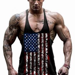 Wholesale Usa Flag Vest - New Summer Men Usa Flag Men Tank Tops Vest Raglan Tank Top Workout Men Muscle Bodybuilding Tank Top
