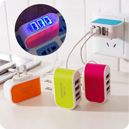Wholesale Usb Power Adapter For Iphone - Triple USB Port Wall Home Travel AC Power Charger Adapter 3.1A US Plug EU Plug For Phone Pad