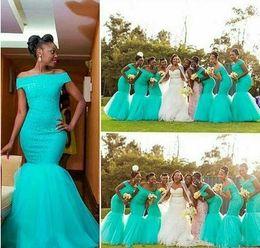 Wholesale Aqua Gown Dress Mermaid - 2018 Aqua African Lace Bridesmaids Dresses Off Shoulder Mermaid Floor Length Nigerian Maid of Honor Wedding Guest Party Gowns Plus Size