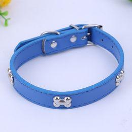 Wholesale Dog Leather Collars Xl - 5 Colors Bone Pet Dog Collar Durable PU Leather Adjustable Puppy Cat Strap Collar S M L XL 1.5cm
