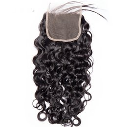 Wholesale brazilian jerry curl hair - 9A Water Wave Lace Closure Brazilian Virgin Human Hair Jerry Curl Natrual Color 4*4 Lace Closure Free Part Middle Part