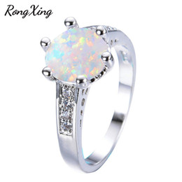 Wholesale fire opal rings wholesale - whole saleRongXing Big Round White Fire Opal Rings For Women Vintage 925 Sterling Silver Filled CZ Birthstone Ring Fashion Jewelry RP0202