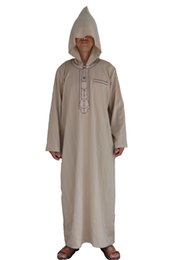 Canada 2018 vente chaude forme vcoin sur la poitrine marocain hommes vêtements Djellaba à la main brodé design marocain musulman à capuchon Thobe hommes Offre