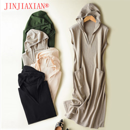 Wholesale Women Sleeveless Sweaters - New Spring and Autumn Loose Hooded Sweater Ladies Cashmere Sweater Hood Sleeveless Sweater Jacket Hoodie