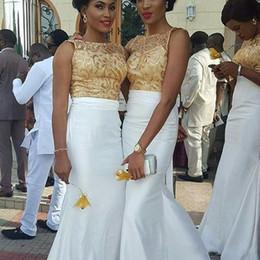 Wholesale Ankara Dresses - Elegant 2018 Country Ankara White Mermaid Bridesmaid Dresses Crew Neck Gold Lace Applique Top African Floor Length Beach Wedding Guest Gowns