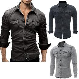 2019 camisas de jean preto Black Friday Ofertas 2017 Moda Masculina de Manga Longa Jeans Camisas Denim Casual Slim Fit Elegante Lavagem-Tops Do Vintage desconto camisas de jean preto