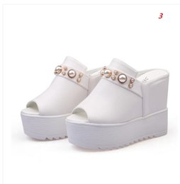 Wholesale Womens White Wedges - hot sell! Womens High Wedge Heel Sandals Platform Slippers Casual Shoes Height 12cm High-heeled slippers size 33-40
