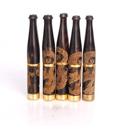 Wholesale wood carving dragons - Ebony Carving Dragon double filtration metal rod 13mm solid wood smoking accessories