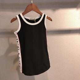 Wholesale child models girls - 2018 hot sale Summer Model Children's Garment Letter Printing Male Girl Vest Skirt Tidal Range Children boys clothing T shirts Pity