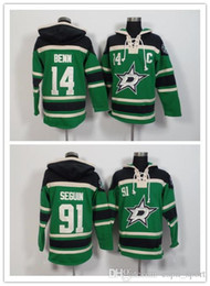 Wholesale red star hoody - Factory Outlet, new mens Dallas Stars hoody 91 Tyler Seguin Sweatshirt green pullover Jersey 14 Jamie Benn Ice Hockey Hoodies coat