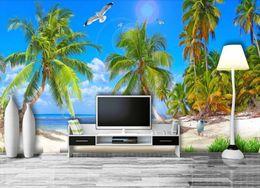 Настенные обои на заказ Китай Море Морской пейзаж обои для стен 3 d гостиная диван ТВ фон фотообои cheap live tv china от Поставщики жить телевизор