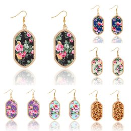 Wholesale Wholesale Banquet Plates - Vintage Original Brand Geometry Gem Stone Earrings Sexy Leopard Printing Gold Earrings For Women Banquet Party Jewelry