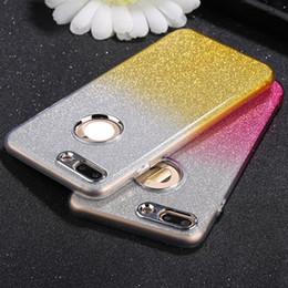 2019 adesivo iphone 6s plus Bling Glitter Sticker + Custodia morbida in TPU per Iphone X XS 8 7 I7 6 6S Plus OPPO R11 R9S R9 Plus Luxury lucida Dual Color Metal Button Custodia in pelle adesivo iphone 6s plus economici