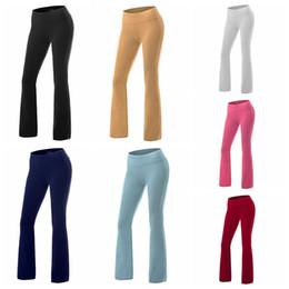 Pantaloni di yoga di esercizio bianco online-Pantaloni a vita bassa di esercitazione di svago di yoga di colore solido europeo di colore solido bianco, gruppo misto di supporto blu, giallo, rosso, grigio, verde, nero, blu