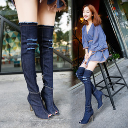 Wholesale wholesale thigh boots - Wholesale high-heeled fine with fish mouth washed elastic boots Europe and the United States women's shoes knees long denim boots