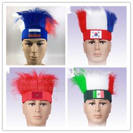 Stil başına en az 10 parça Yeni 2018 Dünya Kupası bayrağı Peruk hayranları Patlama kafa peruk kapaklar revelry Spor Açık Havada Atletik Accs Hediyelik Eşya nereden