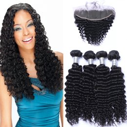 Wholesale Deep Wave Full Head Weave - Brazilian Deep wave Human Hair Wefts with 13x4 Lace Frontal Ear to Ear Full Head Natural Color Can be Dyed Human Hair Extensions