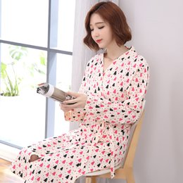 b403e5aa46 floral cotton pajama Australia - High Quality Spring 100%Cotton Long Sleeve  Women Bathrobe Floral