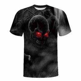 Wholesale Skull Womens Shirts - New Fashion 3D t-shirts Skull Print Funny Mens Womens Summer Short Sleeve t shirt Streetwear Tops