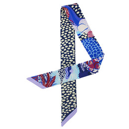 Wholesale Fashion Hair Scarves - Wholesale-New high quality IMITATED SILK Printed pattern scarf ribbon hair big max twilly bind bag with tie headband