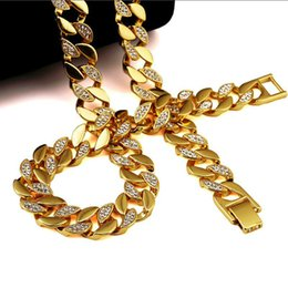 Wholesale Golden Chain Set - Men Hip Hop ICED OUT 18K Gold Plated W CZ Curb Miami Cuban Link Chain Necklace & Bracelets Bling Bling Jewelry Set