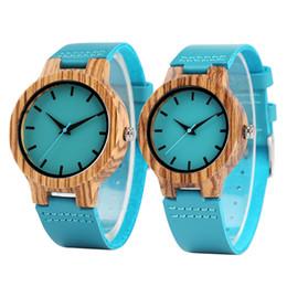 Wholesale Women Wooden Watch - Fashion Blue Wood Watch Analog Quartz Genuine Leather Band Men Women Creative Handmade Bamboo Wooden Wristwatch Sports Casual Clock Gifts