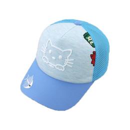 Summer Unisex Child Mesh Patchwork Baseball Cap Cat and Fishbone Design  Adjustable Snapback Baseball Hat MZ5722 eec3813b46ff